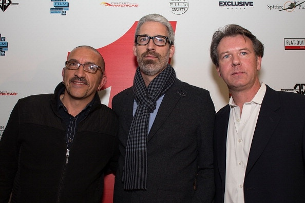 "Director Paul Crowder, Writer Mark Monroe and Producer Michael Shevloff at the ""1: Life on the Limit"" premiere at the Austin Grand Prix"