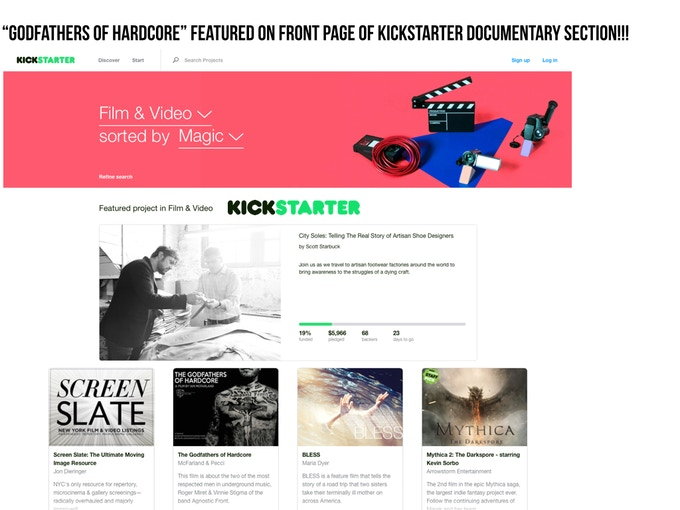 Kickstarter Featured Documentary Page