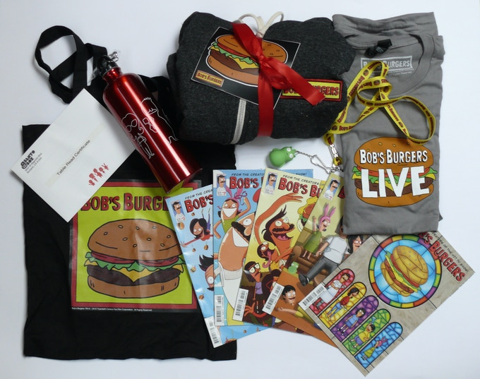 For $1,000: A Bob's Burgers Basket (not pictured here: the actual basket), containing among other things an invitation for two to a live table-read in Los Angeles.
