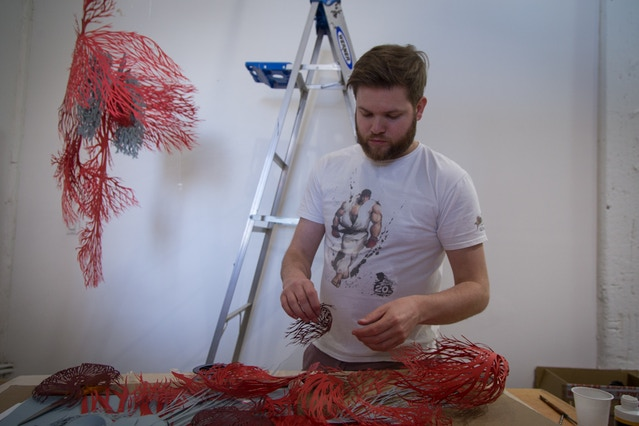 Finalising the installation on the day of the show