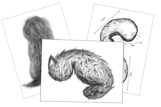 Original sketches of the Not-a-Cat Cat design.