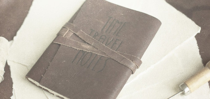 The Time Traveler's Notebook: handmade paper, bound in genuine alien leather