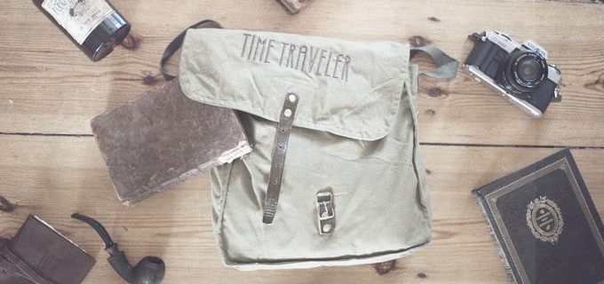 The Time Travel Bag: embroidered canvas with leather buckle