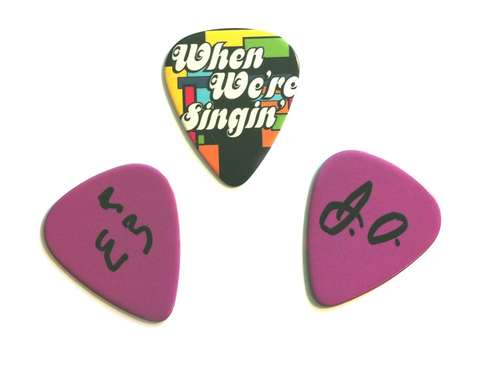 "Guitar Picks! Back Side signed by real Partridge Family bass players Max Bennett and Joe Osborn! (Actual size of item is ""true guitar pick!"")"