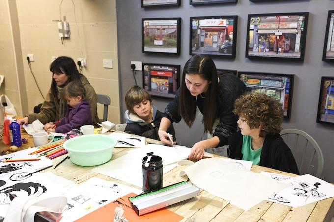 Jill running a print workshop