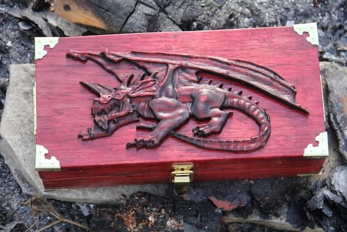 Demon's Blood Hickory, Crouching Dragon wood sculpt.