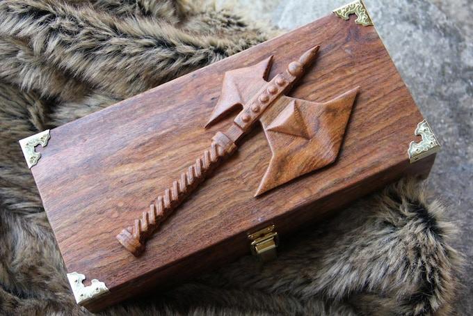 Premium Chechen wood, Battle Axe wood sculpt.