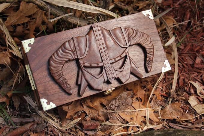 Premium Black Walnut wood, Viking Helmet wood sculpt