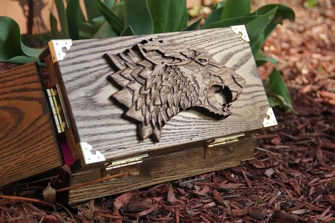 White Ash wood, Dark Walnut, finish, Hellhound wood sculpt.