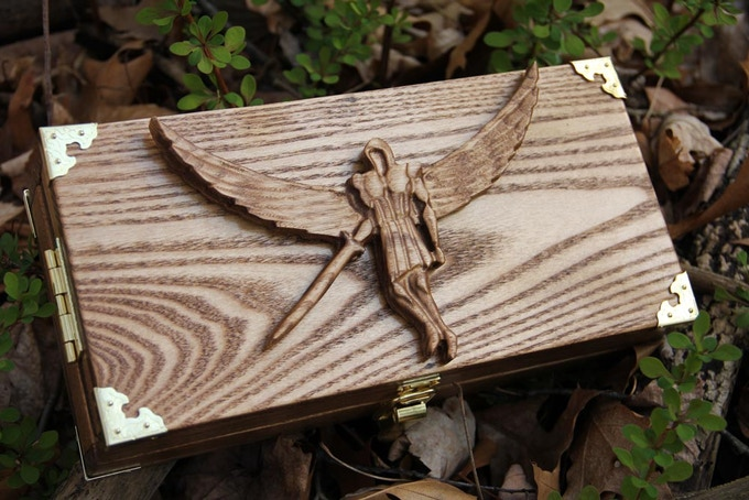 White Ash wood, Early American finish, Winged Warrior wood sculpt.