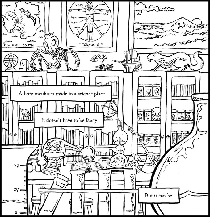 What a science lab looks like before colouring.