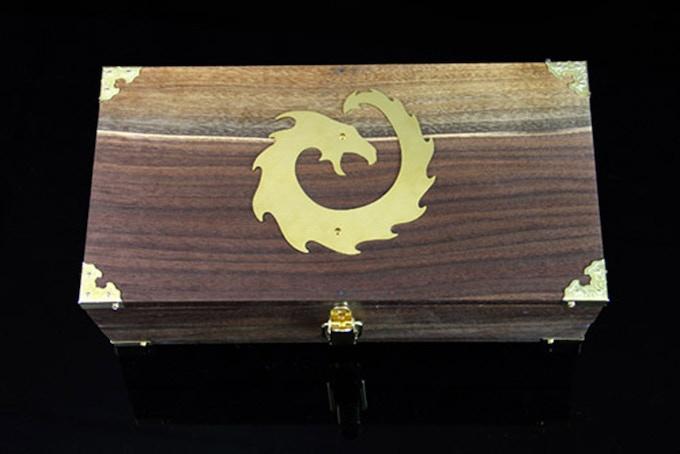 Premium Black Walnut wood, Dragon 2 metal symbol in brass.