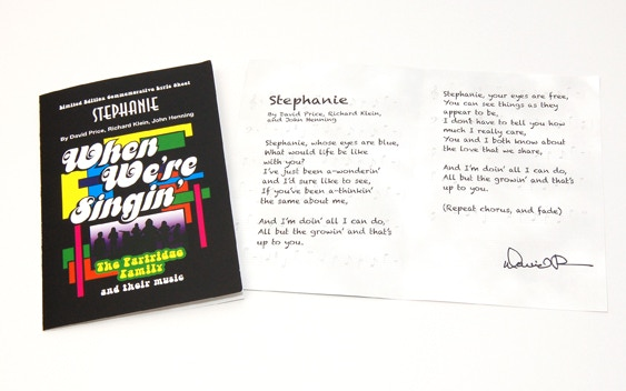 """Stephanie"" Song Lyric Commemorative signed by David Price!"