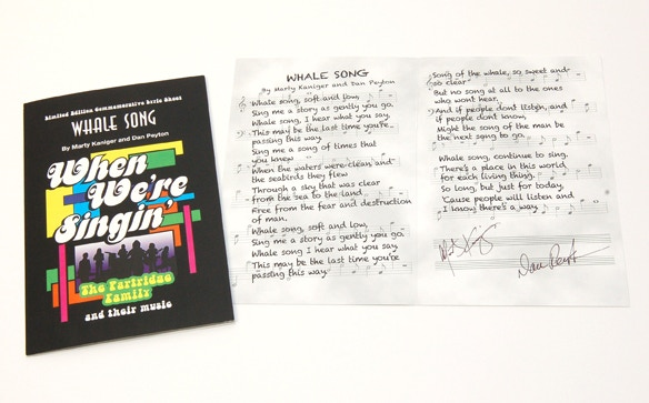 """Whale Song"" Lyric Commemorative signed by both MARTY KANIGER & DAN PEYTON!"