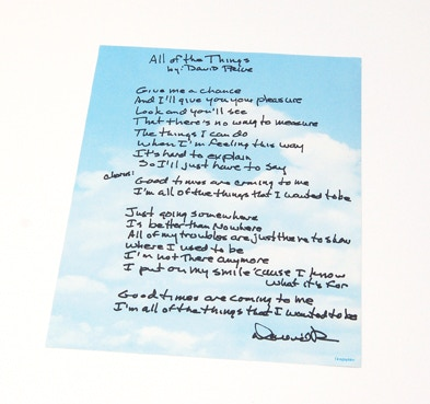 "Hand-Written Lyrics of the unreleased ""All Of The Things,"" written and signed by David Price!"