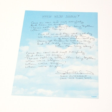 """When We're Singin'"" lyrics, the original theme song, hand-written and signed by Diane Hildebrand!"