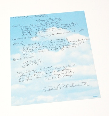 """Singing My Song"" lyrics hand-written and signed by Diane Hildebrand!"