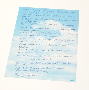 """She'd Rather Have The Rain"" lyrics hand-written and signed by Terry Cashman!"