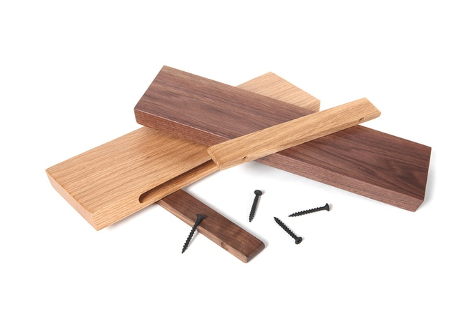 Rackless comes in solid Oak or solid Walnut