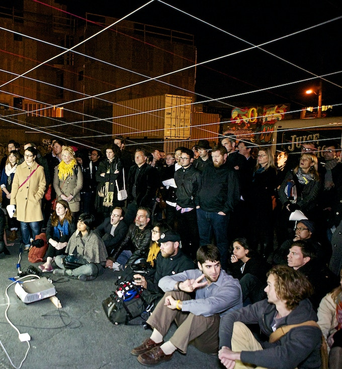 An evening of architecture discourse at PROXY produced by A Planned Disappearance Of. © Lane Johnson 2013.