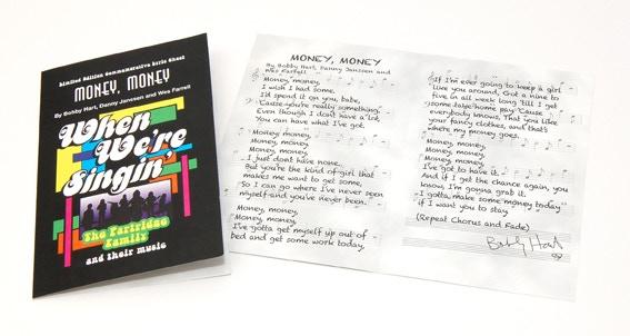 """Money, Money"" Song Lyric Commemorative signed by BOBBY HART!"