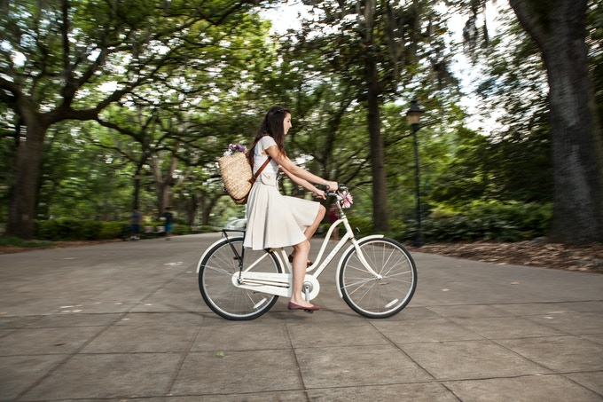 The Bicycle Wrap Skirt in action!