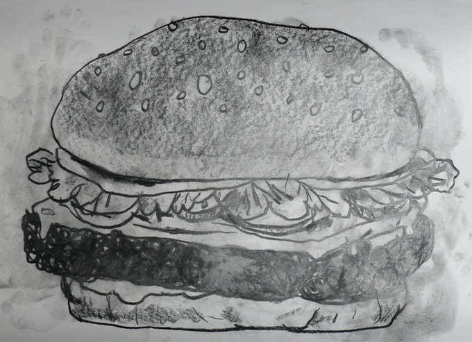 "For $400: A giant cheeseburger drawing (18"" x 22"") by Jason Polan, plus additional Polan-iana!"