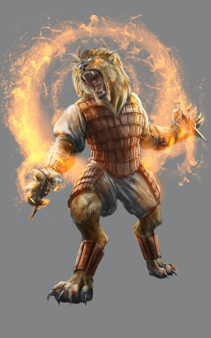 Cazadore are a feline race available to players. They don't like the smell of the three reptile player races. Many of them are sorcerers like the flame sorcerer in the illustration