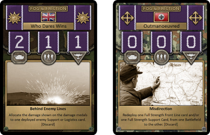 Fog & Friction cards represent all the unpredictable aspects of war, from covert manoeuvres to sabotage and snipers there are plenty of ways to ruin your enemy's best laid plans