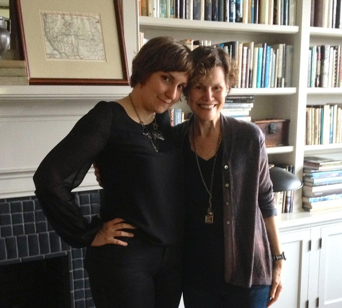 Judy Blume and Lena Dunham in Blume's NYC apartment, just before the taping of their conversation for the Organist.