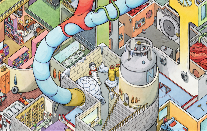 Detail of Liquid Nitrogen tank cooling the skating rink below with pharmacy to the left and blood bank to the right.