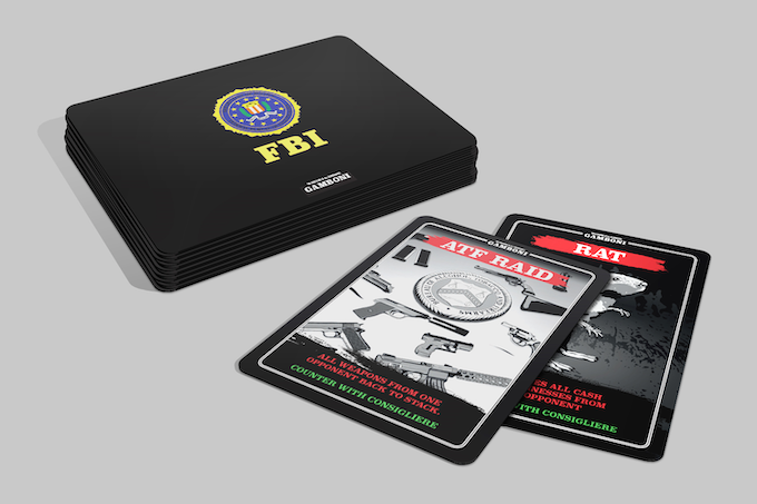 7 x FBI card, poker size, 7 unique cards, all illustrated by hand. Click to see video on YouTube.