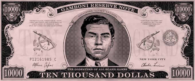 "50 x GAMBONI $ 10,000 dollas. Size: 10 * 4 cm / 4"" * 1"" Quality paper"