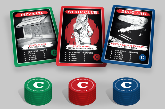 12 x Company cards, poker size, 12 x tokens 22mm * 3mm. Click to see video on YouTube.