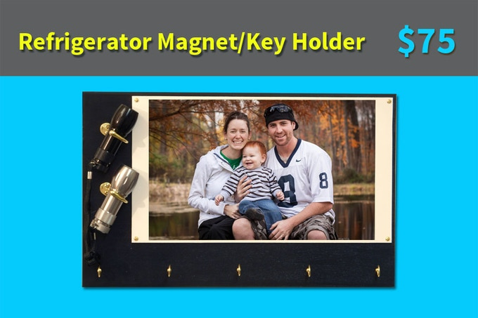 Rare earth magnets clamp this key holder to your refrigerator! Wanna hang it on a wall? No problem - we include brass rings so you can hang it anywhere! Beautiful painted wood panel - 6 colors to choose from when you upload your photo!