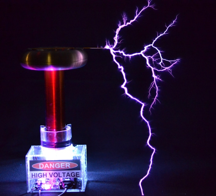 A DIY kit for a solid-state Tesla coil that plays music, shoots 2-foot-long sparks, and teaches you electronics.