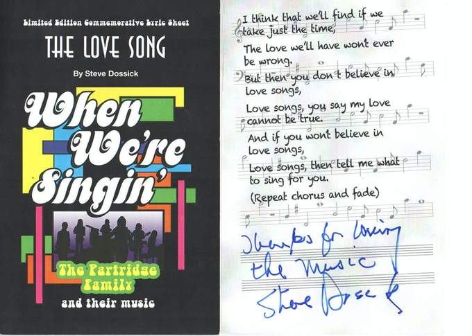 "The un-released ""The Love Song"" Lyric Commemorative signed by STEVE DOSSICK!"