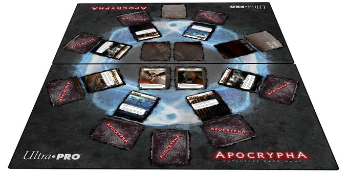Two Ultra PRO mission playmats, side by side. Image not final.