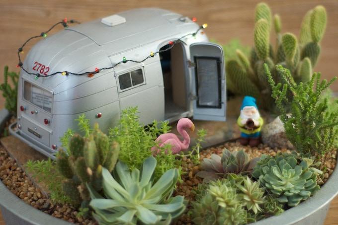 Miniature Airstream Trailer Succulent Garden