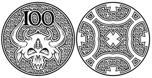 Secret-100 coin (an alternate version of the Copper-100 design by Lee Smith)
