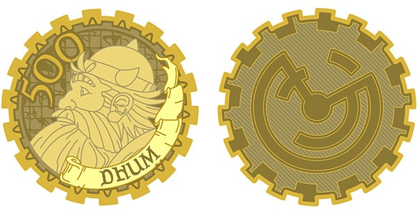 Dhum-500 limited edition gold coin. Design by Lynda Mills.