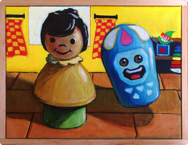 An artistic interpretation of the game's doll house.