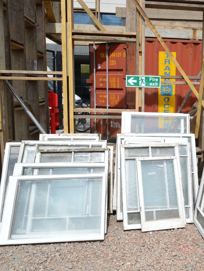 Windows waiting to go onto the building