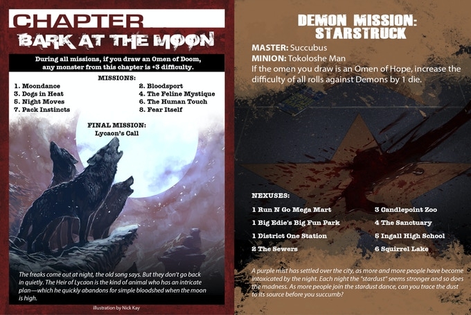 Chapter and mission cards. Images not final.
