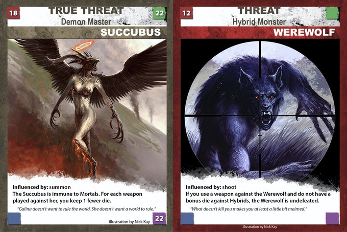 Master and threat cards. Images not final.
