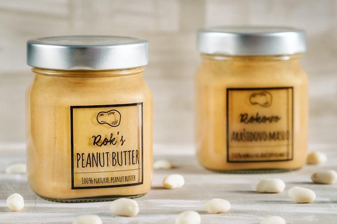 Jar of Rok's 100% natural peanut butter