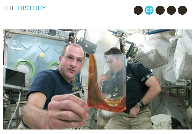 Astronaut Don Pettit demonstrating the Zero-G Coffee Cup.