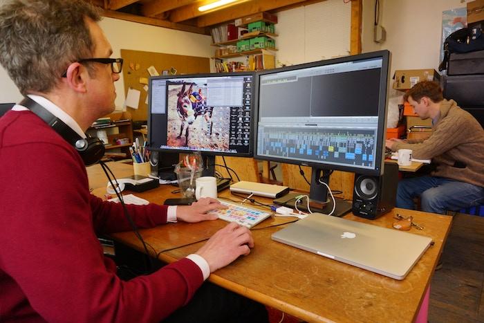 Nigel, the editor for Karun, hard at work in the studio