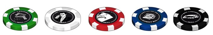 5 x SKILL token, genuine deluxe poker chip 39mm * 3mm. Click to see video on YouTube.