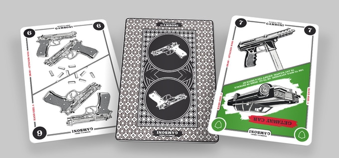 45 Weapon cards, poker size, 11 suits, original art on both sides. Click to see video on YouTube.
